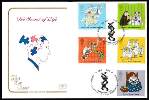 Great Britain First Day Cover, 'Secret of Life. DNA and the Genome', Cotswold, Secret of Life, DNA & Genome, Cambridge, 25-Feb-2003