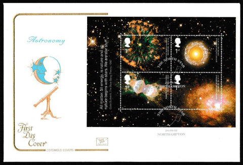 Great Britain First Day Cover - Mini Sheet, 'Astronomy - Mini Sheet', Cotswold, The North Star, Northampton, 24-Sep-2002
