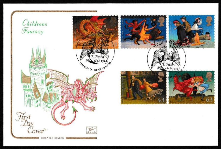 Great Britain First Day Cover, 'Magical Worlds', Cotswold, Magical Worlds, E Nesbit, Halstead, Kent, 21-Jul-1998