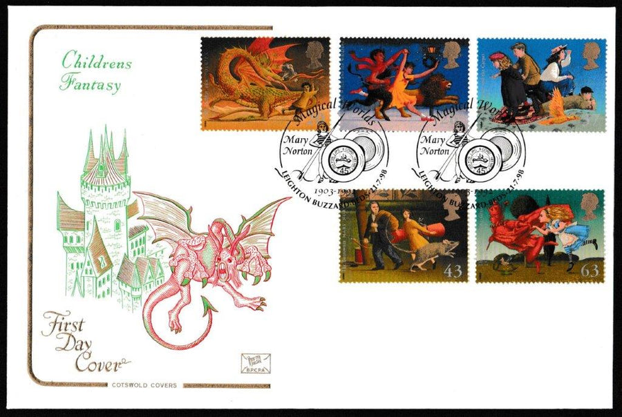 Great Britain First Day Cover, 'Magical Worlds', Cotswold, Magical Worlds, Mary Norton, Leighton Buzzard, 21-Jul-1998