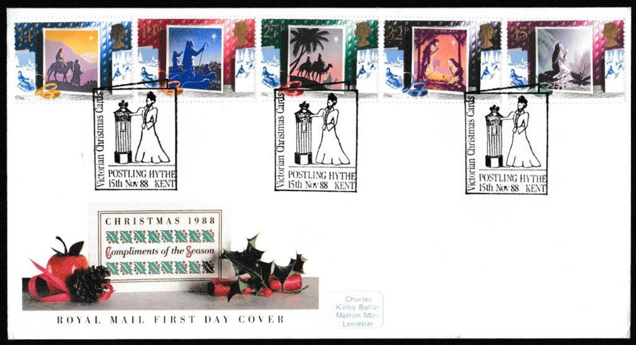 Great Britain First Day Cover, 'Christmas 1988', Royal Mail, Victorian Christmas Cards, Postling, Hythe, Kent, 15-Nov-1988