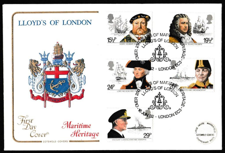 Great Britain First Day Cover, 'Maritime Heritage', Cotswold, 250 Years of Maritime Heritage, Lloyds of London, London, EC3, 16-Jun-1982