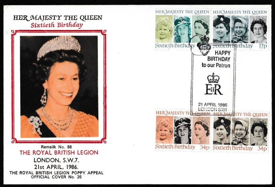 Great Britain First Day Cover, '60th Birthday of Queen Elizabeth II', British Legion, Happy Birthday to our Patron, 21 April 1986, 21-Apr-1986