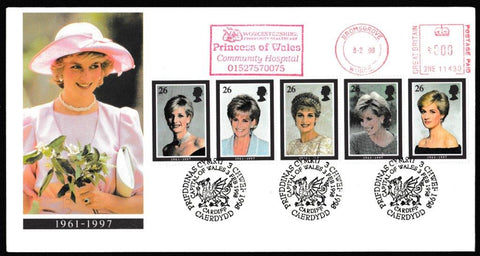 Great Britain First Day Cover, 'Diana Princess of Wales', Royal Mail, Cardiff, Capital of Wales, 03-Feb-1998
