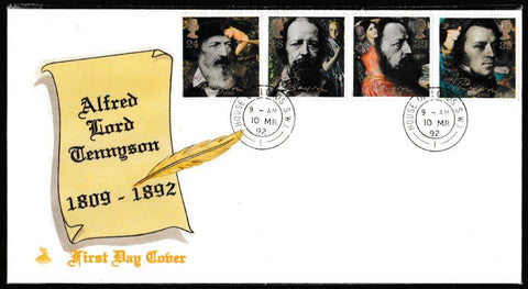 Great Britain First Day Cover, 'Centenary of Alfred Lord Tennyson', Stuart, House of Lords, London, SW1, 10-Mar-1992