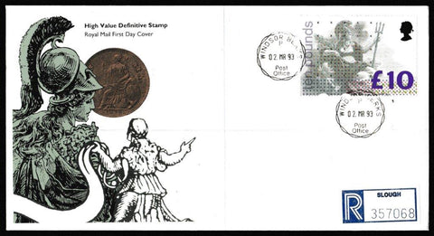 Great Britain First Day Cover, 'Definitives - £10 High Value Britannia', Royal Mail, Windsor, 02-Mar-1993