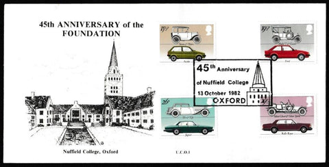 Great Britain First Day Cover, 'British Motor Industry', University Covers, 45th Anniversary of Nuffield College, Oxford, 13-Oct-1982