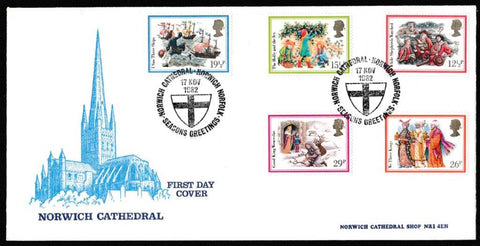 Great Britain First Day Cover, 'Christmas 1982', Norwich Cathedral, Seasons Greetings, Norwich Cathedral, 17-Nov-1982