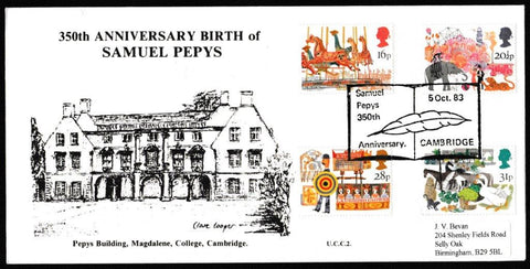 Great Britain First Day Cover, 'British Fairs', University Covers, Samuel Pepys 350th Anniversary, Cambridge, 05-Oct-1983