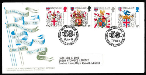 Great Britain First Day Cover, 'Heraldry - College of Arms Quincentenary', Harrison & Sons, Post Office Stamp Printing, High Wycombe, 17-Jan-1984