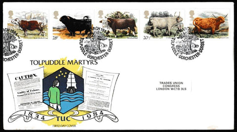 Great Britain First Day Cover, 'British Cattle', TUC, Tolpuddle, Dorchester, Dorset, 06-Mar-1984