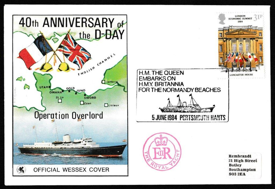 Great Britain First Day Cover, 'Economic Summit. London', Wessex, HM The Queen Departs for Normandy Beaches, Portsmouth, Hants, 06-Jun-1984