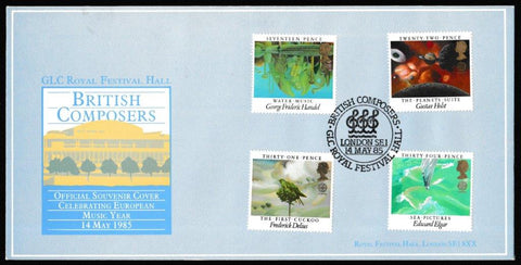 Great Britain First Day Cover, 'British Composers', GLC, British Composers, Royal Festival Hall, 14-May-1985
