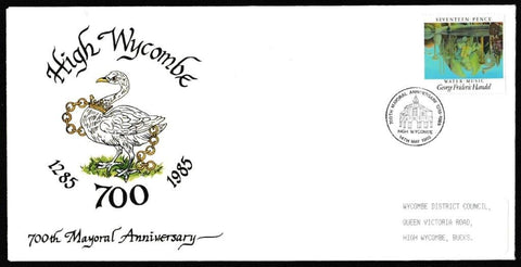 Great Britain First Day Cover, 'British Composers', High Wycombe DC, 700th Mayoral Anniversary, High Wycombe, 14-May-1985