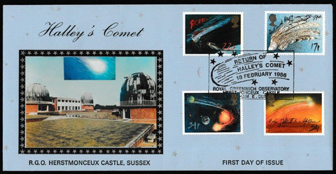 Great Britain First Day Cover, 'Halley's Comet', K. Duke, Return of Halleys Comet, Royal Greenwich Observatory, 18-Feb-1986