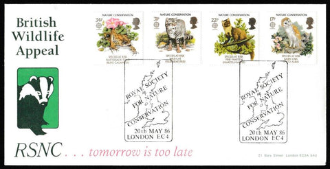 Great Britain First Day Cover, 'Nature Conservation', Arlington, Royal Society for Nature Conservation, London, EC4, 20-May-1986