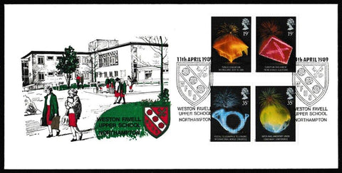Great Britain First Day Cover, 'Anniversaries', Weston Favell School, Weston Favell Upper School, Northampton, 11-Apr-1989