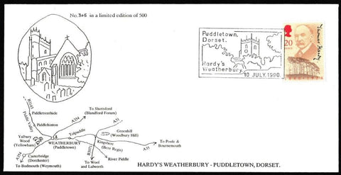 Great Britain First Day Cover, '150th Anniversary Thomas Hardy', A. Pearce, Thomas Hardy, Dorchester, Dorset, 10-Jul-1990