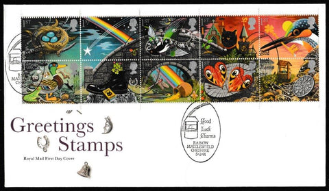 Great Britain First Day Cover, 'Greetings Stamps. 3rd Series', Royal Mail, Good Luck Charms, Rainow, Macclesfield, 05-Feb-1991