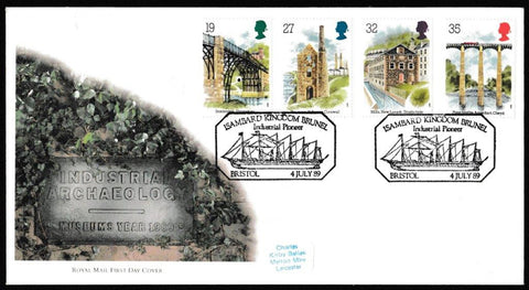 Great Britain First Day Cover, 'Industrial Archaeology', Royal Mail, Isambard Kingdom Brunel, Industrial Pioneer, Bristol, 04-Jul-1989