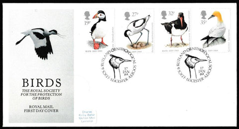 Great Britain First Day Cover, 'Sea Birds  ', Royal Mail, Leics & Rutland Ornithological Society, Leicester, 31-Jan-1989