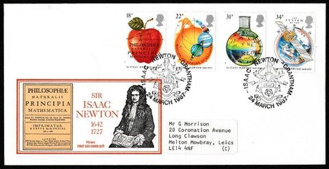 Great Britain First Day Cover, 'Sir Isaac Newton', Philart, Isaac Newton, Grantham, 25-Mar-1987