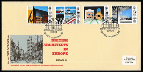 Great Britain First Day Cover, 'British Architects in Europe', Philart, The Clore Gallery, London, SW1, 12-May-1987