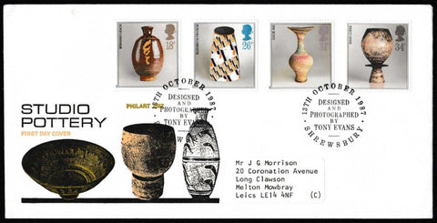 Great Britain First Day Cover, 'British Studio Pottery', Philart, Designed by Tony Evans, Shrewsbury, 13-Oct-1987