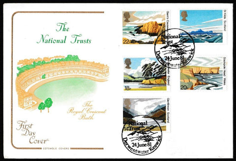 Great Britain First Day Cover, 'The National Trusts', Cotswold, National Trust for Scotland, Derwentwater, Keswick, 24-Jun-1981