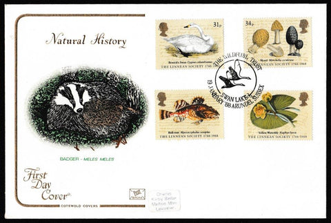 Great Britain First Day Cover, 'Bicentenary of the Linean Society', Cotswold, The Wildfowl Trust, Swan Lake, Arundel, Sussex, 19-Jan-1988