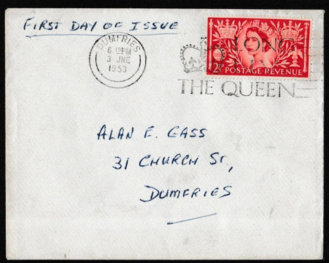 Great Britain First Day Cover, 'Coronation Queen Elizabeth II', Plain, Dumfries, 03-Jun-1953