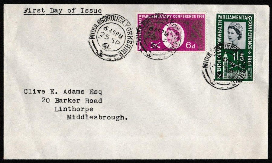 Great Britain First Day Cover, 'Seventh Commonwealth Parliamentary Conference', Plain, Middlesbrough, Yorkshire, 25-Sep-1961