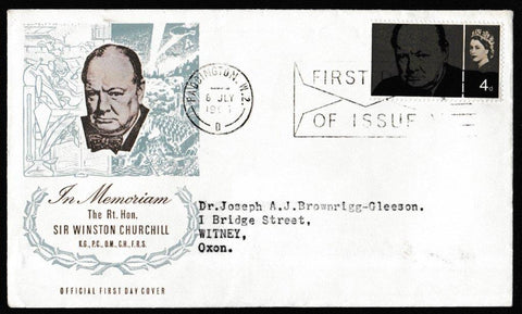 Great Britain First Day Cover, 'Sir Winston Churchill Commemoration', Royal Mail, Paddington, W2, 08-Jul-1965