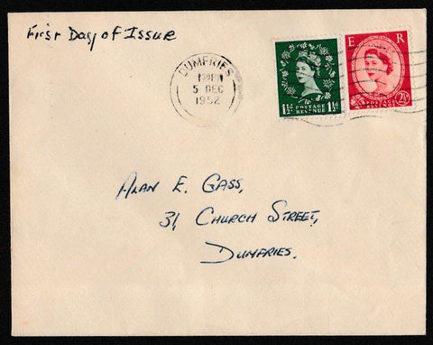 Great Britain First Day Cover, 'Definitives', Plain, Dumfries, 05-Dec-1952