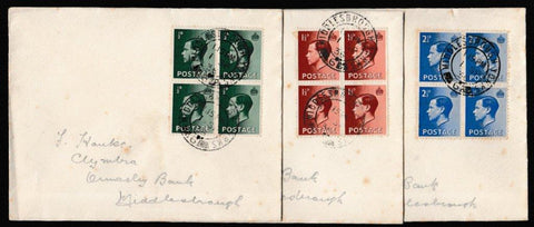 Great Britain First Day Cover, 'New Definitives - 3 cover set with Se-tenant blocks', Plain, Middlesbrough, Yorkshire, 01-Sep-1936