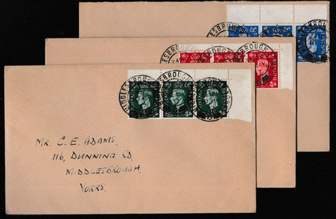 Great Britain First Day Cover, 'First Low Value Definitives - 3 cover set with Se-tenant blocks', Plain, Middlesbrough, Yorkshire, 30-Jul-1937