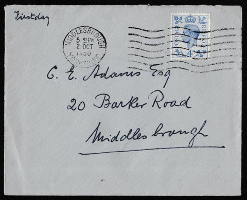 Great Britain First Day Cover, '4d Definitive Colour Change', Plain, Middlesbrough, Yorkshire, 02-Oct-1950