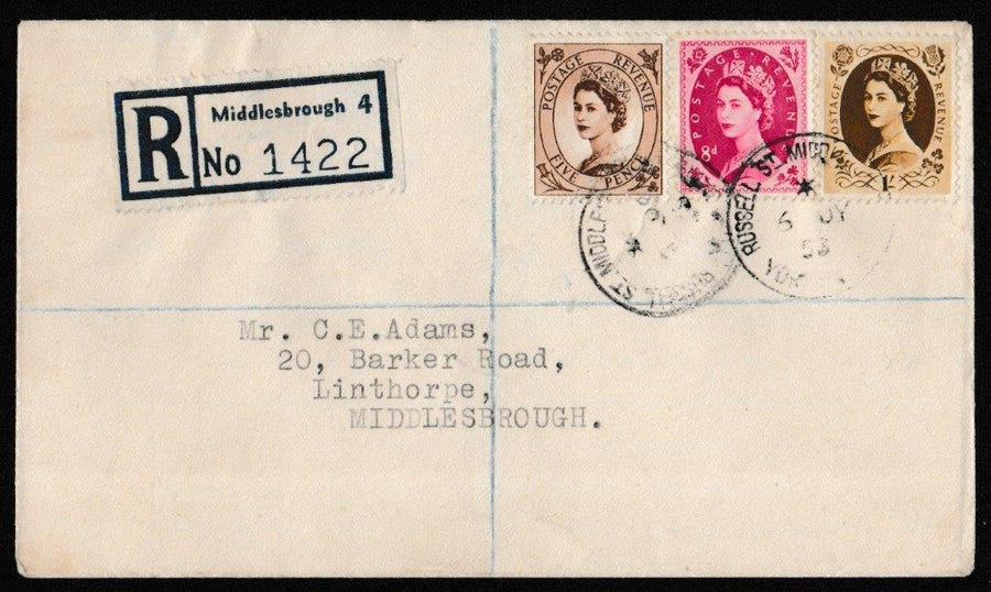 Great Britain First Day Cover, 'Definitives - Low Values', Plain, Middlesbrough, Yorkshire, 06-Jul-1953