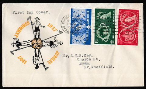 Great Britain First Day Cover, 'World Scout Jamboree', PTS/BPA, Chesterfield, Derbyshire, 01-Aug-1957