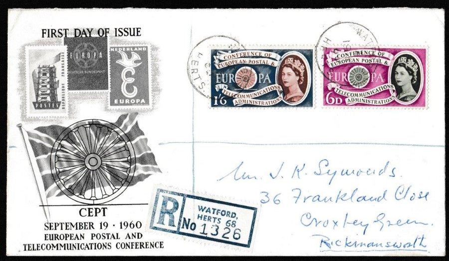 Great Britain First Day Cover, 'Central European Postal and Telecommunications Conference', PTS/BPA, Watford, Herts, 19-Sep-1960