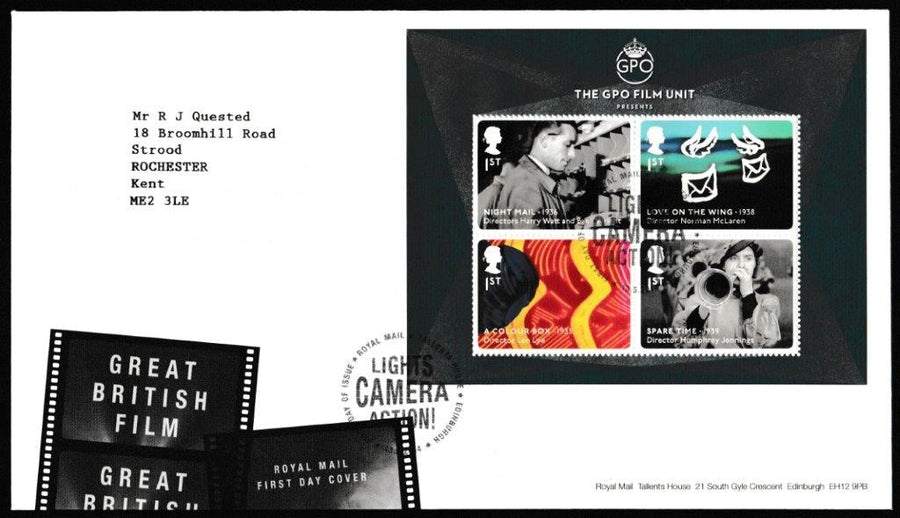Great Britain First Day Cover - Mini Sheet, 'Great British Films - Mini Sheet', Royal Mail, Royal Mail, Tallents House, Edinburgh, 13-May-2014