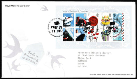 Great Britain First Day Cover - Mini Sheet, 'Smilers - Mini Sheet', Royal Mail, Royal Mail, Tallents House, Edinburgh, 26-Jan-2010