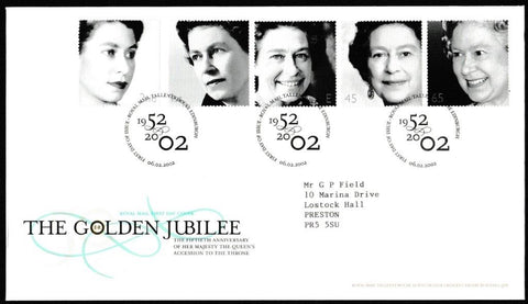 Great Britain First Day Cover, 'The Golden Jubilee', Royal Mail, Royal Mail, Tallents House, Edinburgh, 06-Feb-2002