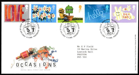 Great Britain First Day Cover, 'Occasions Greetings Stamps', Royal Mail, Royal Mail, Tallents House, Edinburgh, 05-Mar-2002
