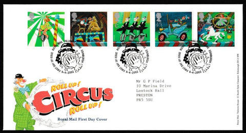 Great Britain First Day Cover, 'Circus', Royal Mail, Royal Mail, Tallents House, Edinburgh, 09-Apr-2002