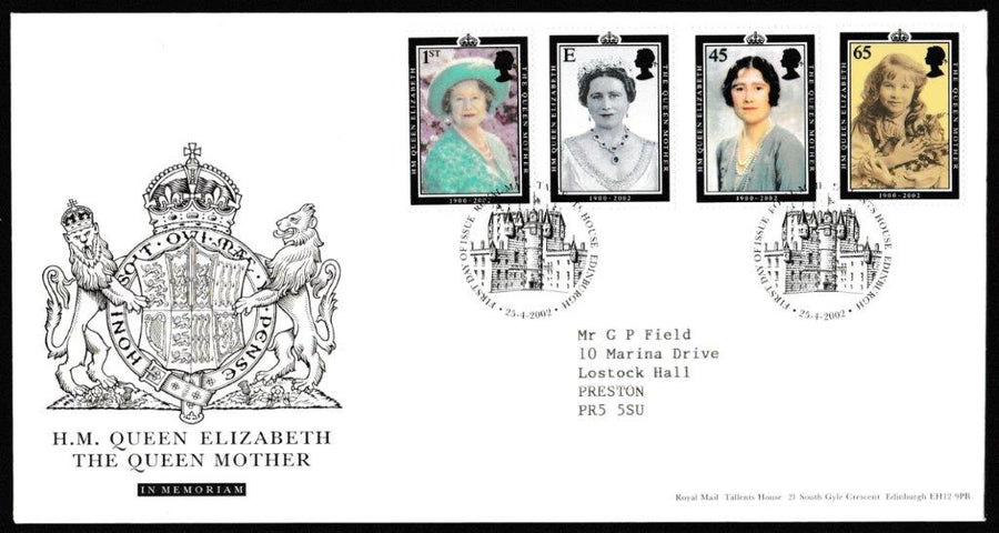 Great Britain First Day Cover, 'HM Queen Elizabeth The Queen Mother', Royal Mail, Royal Mail, Tallents House, Edinburgh, 25-Apr-2002