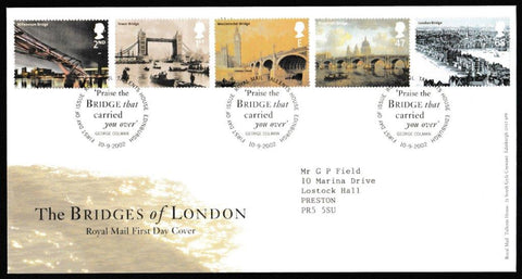 Great Britain First Day Cover, 'The Bridges of London', Royal Mail, Royal Mail, Tallents House, Edinburgh, 10-Sep-2002