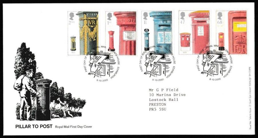 Great Britain First Day Cover, 'Pillar to Post', Royal Mail, Royal Mail, Tallents House, Edinburgh, 08-Oct-2002