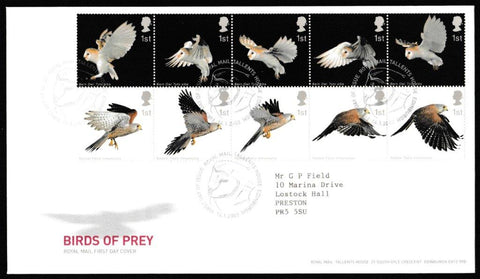 Great Britain First Day Cover, 'Birds of Prey', Royal Mail, Royal Mail, Tallents House, Edinburgh, 14-Jan-2003