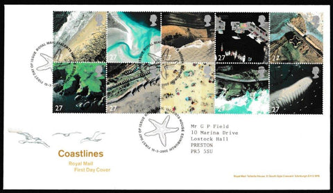Great Britain First Day Cover, 'Coastlines', Royal Mail, Royal Mail, Tallents House, Edinburgh, 19-Mar-2002